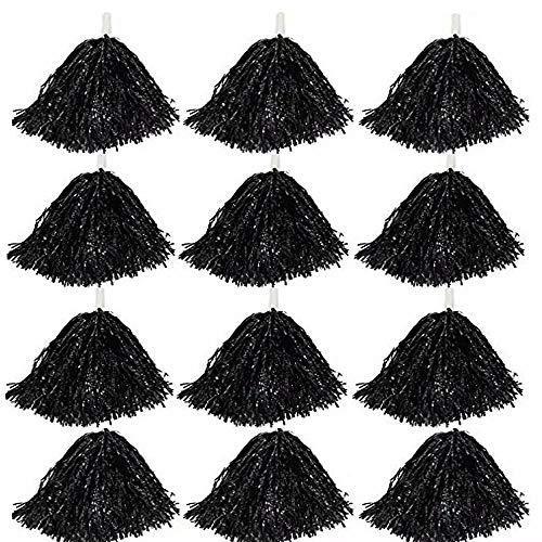 CRIVERS 12pc Cheerleading Pom Poms, Cheerleader Pompons für Ball Dance Kostüm Night Party Sports (schwarz, ()