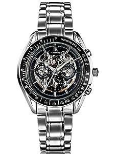 Alienwork IK mechanische Automatik Armbanduhr Skelett Automatikuhr Uhr Multi-funktion schwarz silber Edelstahl 98005-01