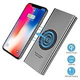 Wireless Power Bank,2 in 1 Kabellos Qi-Ladegerät und 10000mAh Powerbank für Samsung Galaxy Note 8/S8/S8 Plus/iPhone 8/8 Plus/X und alle Qi-fähigen Geräte Andere Micro-USB-Geräte (Grau)