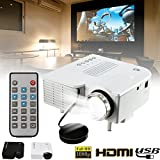 Cewaal Mini projecteur, (UE) UC28B Portable Home Cinéma Multimédia LED Projecteur Support USB TF Carte