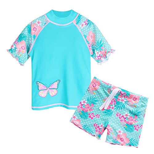 HUANQIUE Girls 2PCS Swimsuit 3-8Y Swimming Set Short Sleeve Swimwear Summer Beach Swimming Costume Outfit Sun suit (Cyan, 5-6Y(Tag No.6A))