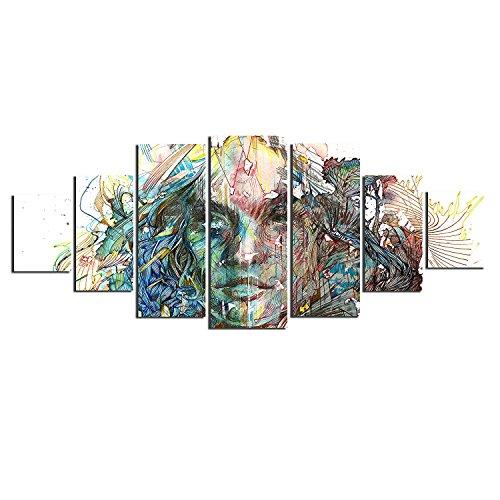 Startonight Grande Cuadro sobre Lienzo Mujer Abstracta, Impresion en Calidad Fotografica Enmarcado y Listo Para Colgar Diseño Moderno Decoración XXL Formato Multipanel 7 Piezas 100 x 240 CM