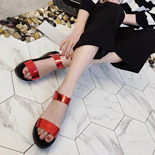 Sannysis Damen Casual Flache Schuhe Römische Sandalen Flip Flops Schuhe Rot