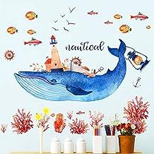 HCCY Le balene blu living room bedroom Harbour e ocean dream pitture murali adesivo 112*93cm