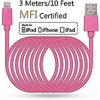 LP 3 Meter Lange Lightning Kabel (Apple MFi zertifiziert) Daten Sync und Ladung Ladekabel für iPhone iPad iPod iOS High Lebensdauer Verstärkt Schnelles Laden USB Handy Akku Datenkabel - Pink