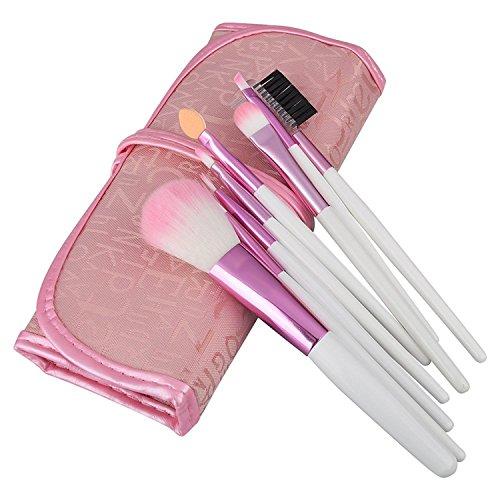 8pcs Pinceaux Brosses Applicateurs Cosmétiques Maquillage Professionnel Make Up Brushes avec Trousse Etui de transport Pour Fond De Teint Poudre Visage Beauté Femme, Rose/Blanc