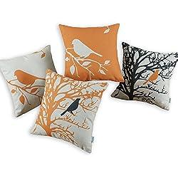 Lote 4 CaliTime Cojín Shell Cute árbol de la sombra del pájaro de la vendimia 45cm X 45cm Naranja
