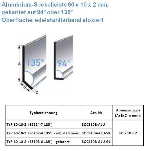 25 METROS RODAPIE / ZOCALO TYP 60-10-2 (ALUMINIO ANODIZADO / COLOR: ACERO INOXIDABLE / 65102-4 135° SK) - AUTOADHESIVO