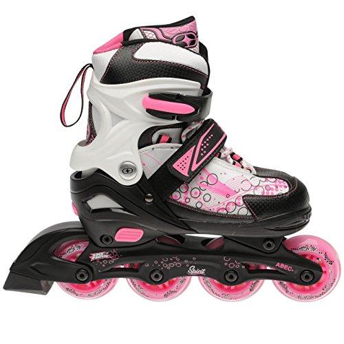 No Fear Spirit Kinder Maedchen Inline Skates Inliner Rollerblades Inlineskating Black/Wht/Pink C11-C13