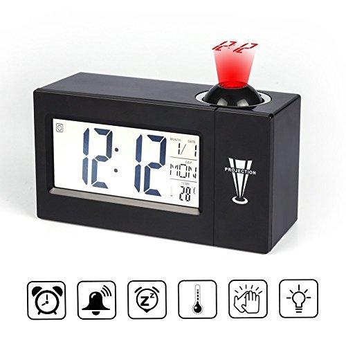 Projektionswecker von Iado,digitaler Wecker mit Thermometer, Snooze, Kalender und Wecker(Projektor um 180 Grad drehbar) Datum Und Uhrzeit-wand-uhr