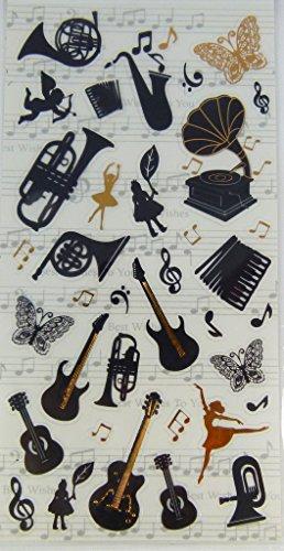 Musik-Themed-Aufkleber-Instrumente-mit-Tnzerin