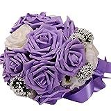 TIREOW Blumenstrauß Romantische Hochzeit Bunte Künstliche Hochzeitsstrauß Rosen Seidenblumen Kunstblumen Blumen Brautstrauß der Braut (Lila)