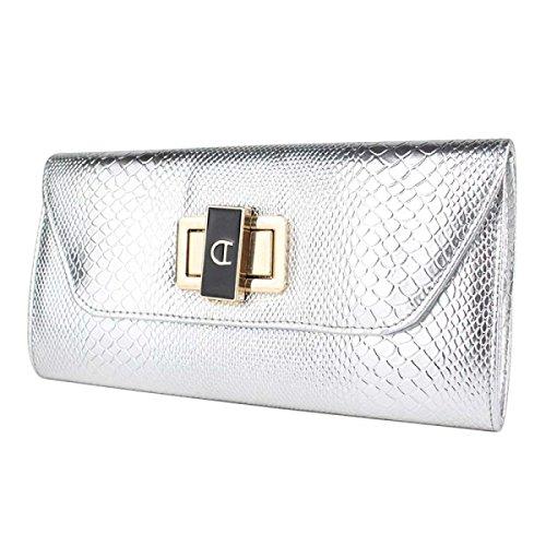 Damen PU-helle Lederne Knopf-Abend-Beutel-neue Mädchen-Handbeutel Silver