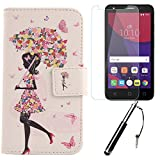 Lankashi 3in1 Set Umbrella Girl PU Flip Leder Tasche Für Alcatel One Touch Pixi 4 3G 5010D 5