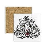 DIYthinker Tiger-Kopf-Nahaufnahme König Tierquadrat Coaster-Schalen-Becher-Halter Absorbent Stein für Getränke 2ST Geschenk Mehrfarbig