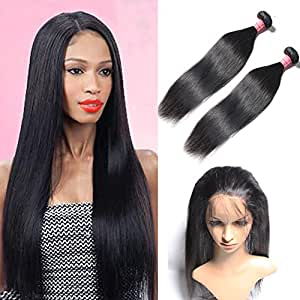 18 20inch& closure 16inch : Mscove Hair 360 Lace Frontal with Bundles Straight Brazilian Virgin Human Hair Weaves 2 Bundles with 360 Lace Frontal Closure (18 20inch & 16inch)