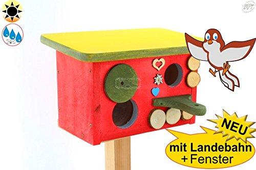 ÖLBAUM XL Nisthöhle Nisthaus, Nistkasten für Vögel im Bayern Deko Design, Einflug ca. 32 mm (30-33 mm), mit Landebahn, Haus rot, Anflug grün, Dach gelb