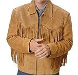 classyak Herren finged Cowboy Western Leder Jacke einfach Gr. X-Large, Braun, Wildleder