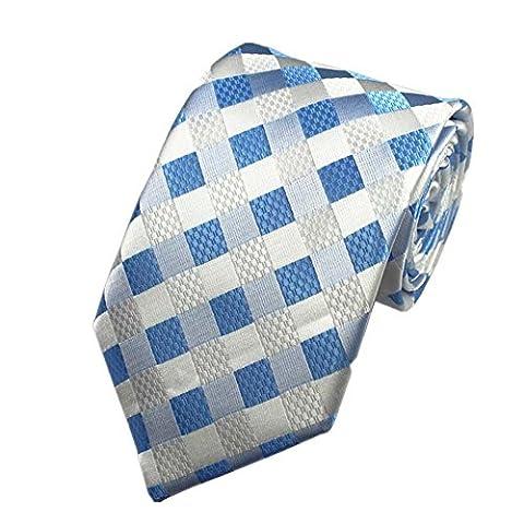 Z-P Mens Blue Lattice Luxury Elegant Necktie Knit Woven Jacquard Skinny Tie