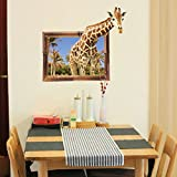 """BeautifulWalls 3D Window Giraffe Wall Stickers For Kids Room Living Room """"Giraffe Popping Out Of Window"""" Ideal For Home, Boys, Girls, Nursery, Bedroom, Hall, Play School, Family Lounge, Cafe & Restaurant Decoration With Kids' Forest Theme Fo"""