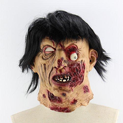 Halloween Latex Maske Gruselige Schwarze Haare Zombie 3D Faulen Gesicht Deluxe Neuheit Kostüm Partei Rolle Spielen Spielzeug Einheitsgröße