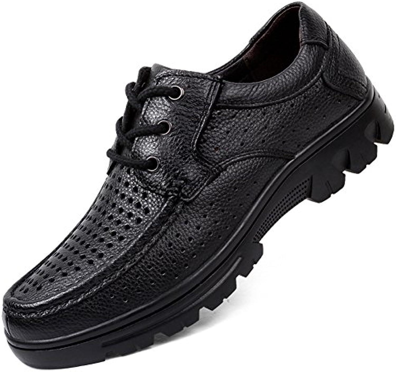 ailishabroy Zapatos de Verano de Cuero Respirable para Hombre Cordones de Moda Oxfords -
