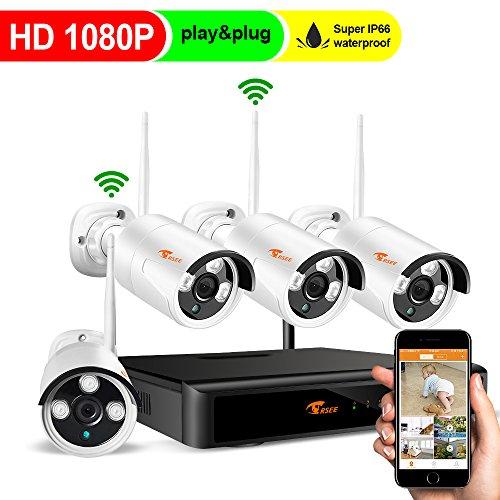 [8CH 960P NVR + 4960P Kameras] corsee Home Business Wireless Video Sicherheit Kamera System, mit 4IP-Kameras von 960P HD Wasserdicht Outdoor Indoor WIFI Bullet und 1Stück 4-Kanal Wireless NVR Kit mit 1TB HDD [können weitere Kameras] (8ch Poe Sicherheit Kamera-system)