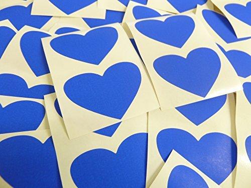 50x37mm Azul Cobalto Con Forma De Corazón Etiquetas, 40 auta-Adhesivo Código De Color Adhesivos, adhesivo Corazones para Manualidades y Decoración