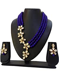 Catalyst Exclusive Designer Collection Stylish Blue Color Faux Pearl Necklace Jewellery Set With Earrings For...