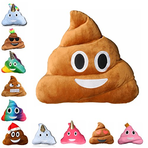 Original Haufi® | Emoji Kissen Smiley Kackhaufen | Poop Emoticon Gadget Plüsch Spielzeug, Größe 35 x 31x 13 cm