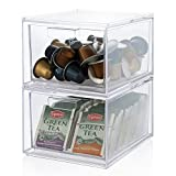 2-Pack Stackable Clear Plastic Coffee Pod Holder and Kitchen Organizer Drawers