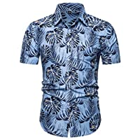 ♛2019 Clearance Sale♛ - Chamery Summer Shirt for MenFashion Men's Casual Button Hawaii Print Beach Short Sleeve Quick Dry Top Blouse(Multi Color,XL)