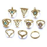 Damen Ring, HUIHUI 10 pcs Vintage Böhmische Vintage Silver Stack Midi O-Ringe Über Knuckle Blue Rings Set für Damen Mädchen (Gold)