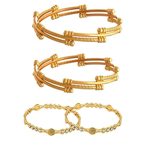 YouBella Fashion Jewellery Traditional Combo of Gold Plated Bracelet Bangles Set For Girls and Women (2.6)