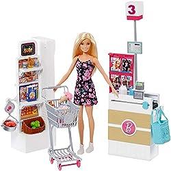 Barbie Mobilier Coffret Supermarché fourni avec poupée à robe fleurie, rayon de marchandise, caisse et accessoires, jouet pour enfant, FRP01