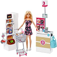 Barbie doll has all the ingredients for fun with a grocery store playset has everything needed to play out a trip to the supermarket! Pieces are designed with working features (like wheels on the cart and a working conveyor belt at the regist...