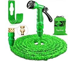 Suplong Garden Hose Expandable Water Pipe 3 Times Expanding 100ft Flexible Magic Hose Pipes Reel With 7 Function Spray/Brass