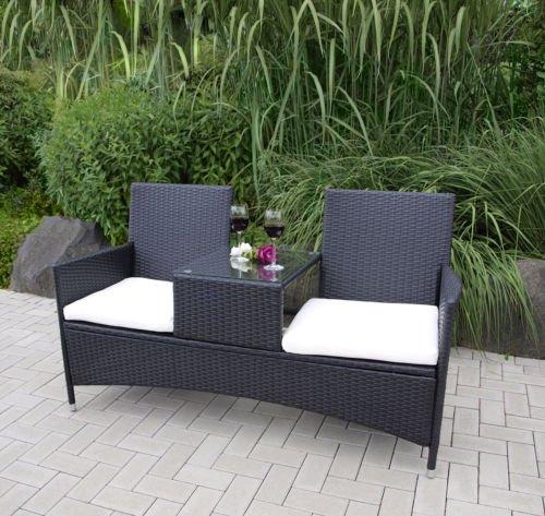 Polyrattan Rattan Gartenbank Garten Tete-à-Tete Bank Sitzbank 2 Sitzer Mitteltisch 153 cm 47227
