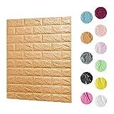 Fliesensticker Wand Aufkleber gute Klebekraft KINLO 70cm*77cm Fliesenbild selbstklebend Ziegel Tapete 3D Optik Dekoration für Wohnzimmer, Schlafzimmer oder Küche(Braun)