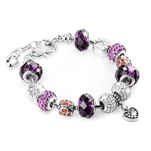 Charm Armband, TONVER Perlen Armband handgefertigt geschnitzt Sterling Silber vergoldet Schlange Kette Charms Armbänder Weihnachten Schmuck Geschenke für Frauen Mädchen