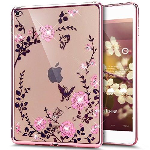 Kompatibel mit iPad Air 2 Hülle,Malerei Schmetterling Blumen Rebe Glänzend Glitzer Strass Diamant Überzug TPU Silikon Hülle Tasche Durchsichtig Schutzhülle für iPad Air 2 /iPad 6,Rose Gold Rosa Blumen