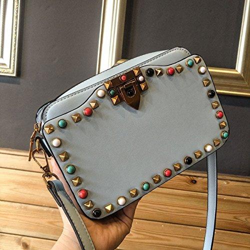 Mini farbe nieten Türkis kleine quadratische tasche multi-fach-trennwand Schulter messenger bag Hellblau