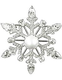 LUOEM Broches de Perlas Elegante Material de Aleación Decoraciones de Ropas Reglo Ideal para Día de Madre para Mujeres Niñas (Nieve)