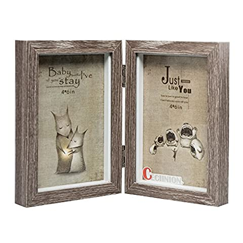 CECIINION Wood Picture Frame, Hinged Double Picture Frame, Double 4 by 6 inch (For 4*6in, Grey)