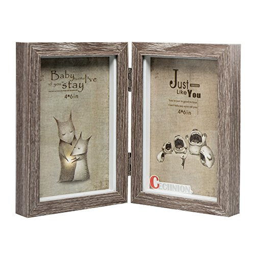 ceciinion-wood-picture-frame-hinged-double-picture-frame-double-4-by-6-inch-for-46in-grey