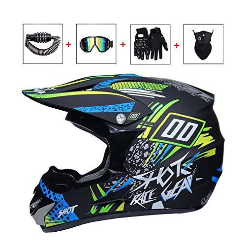 LEENY Herren Crosshelm, Motocross-Helm Set mit Brille/Maske/Handschuhe/Schloss, Motorradhelm Damen Männer Motorräder Sports Downhill Enduro-Helm ATV MTB BMX Quad Motorrad Off-Road-Helm,Blue,L