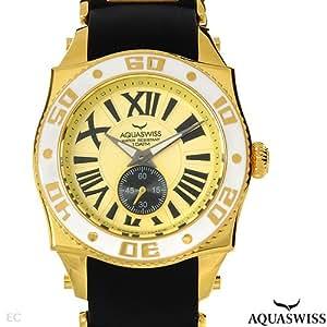 AQUASWISS Swissport Mouvement suisse Mens Watch avec la bande en caoutchouc et en or plaque acier inoxydable et bande - sw0962g mod?le