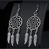 Dreamcatcher Earrings Alloy Feather Tassel Earrings (Silver Tone)