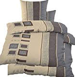 KH-Haushaltshandel 4-tlg. Biber Winter Bettwäsche 2X (135 x 200 + 80x80 cm), 100% Baumwolle, beige Karo+Streifen (40099)