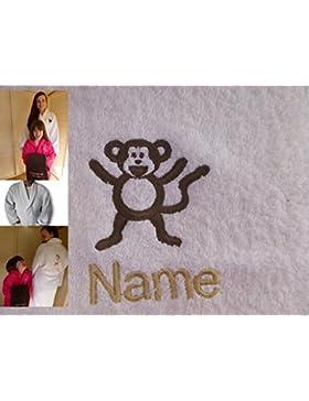 Accappatoio adulto con Logo una scimmia e nome a scelta in Bianco, Taglia M, L, XL o XXL, White, medium